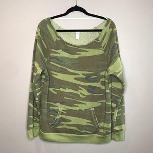 Alternative Slouchy Off shoulder Camo Sweatshirt